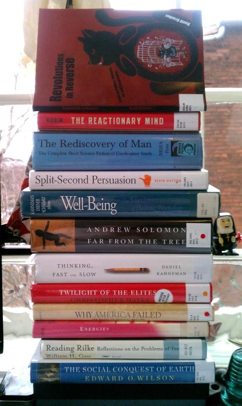 january 2013 book pile