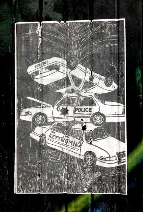 market st alley police car graf poster
