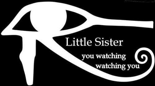 little sister eye text watching