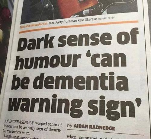 dark humor sign of dementia