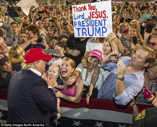 frightening trump crowd jesus