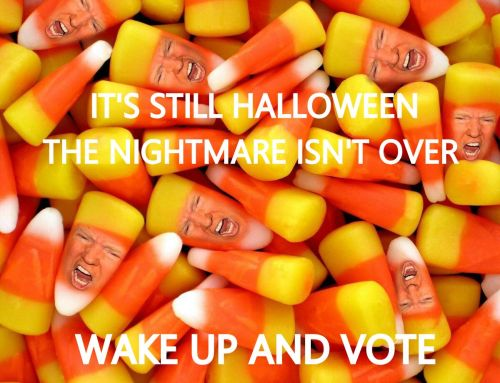 trump as candy corn WAKE UP VOTE